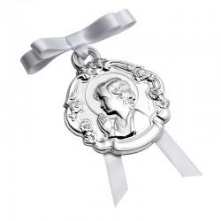 Medalla Cuna Redonda Niño Con Flores 00300059